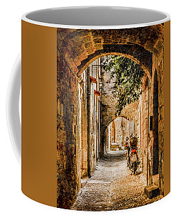 Coffee Mug featuring the photograph Rhodes, Greece - Rhodian Street by Mark Forte