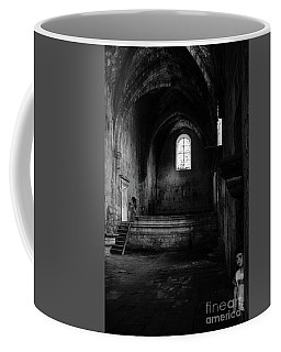 Coffee Mug featuring the photograph Rioseco Abandoned Abbey Nave Bw by RicardMN Photography
