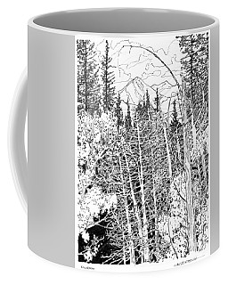 Rocky Mountain Sketch Coffee Mug by John Lautermilch