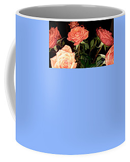 Coffee Mug featuring the painting Roses In A Vase. Painting. Acrylic On Canvas by Oksana Semenchenko