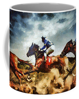 Coffee Mug featuring the painting Running Horses Competition Jockeys In Horse Race by Dimitar Hristov