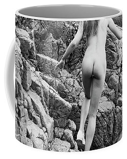 Running Nude Girl On Rocks Coffee Mug