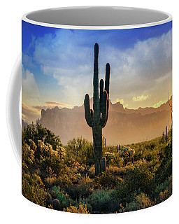 Coffee Mug featuring the photograph Saguaro Sunrise In The Superstitions  by Saija Lehtonen
