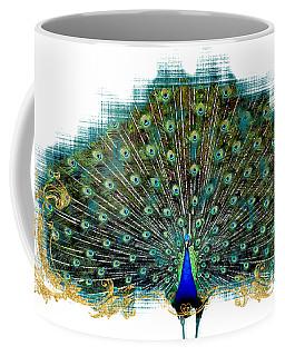 Scroll Swirl Art Deco Nouveau Peacock W Tail Feathers Spread Coffee Mug