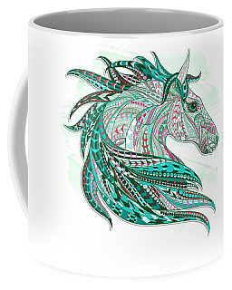 Sea Green Ethnic Horse Coffee Mug