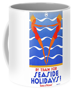 Coffee Mug featuring the mixed media Seaside Australia Vintage Travel Poster Restored by Carsten Reisinger