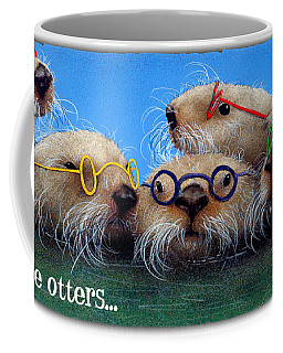 Coffee Mug featuring the painting See Otters... by Will Bullas