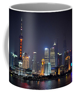 Shanghai China Skyline At Night From Bund Coffee Mug