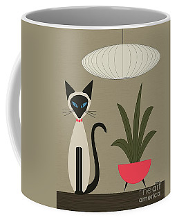 Coffee Mug featuring the digital art Siamese Cat On Tabletop by Donna Mibus