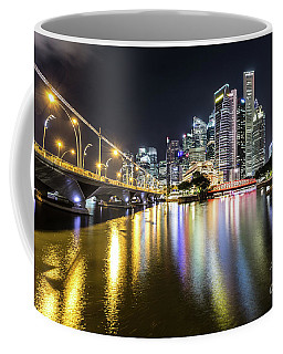 Singapore River At Night With Financial District In Singapore Coffee Mug