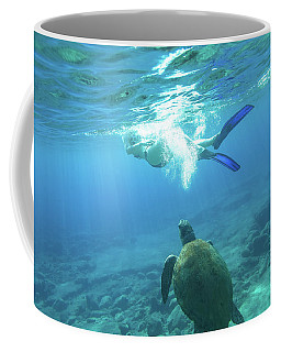 Snorkeler Female Sea Turtle Coffee Mug