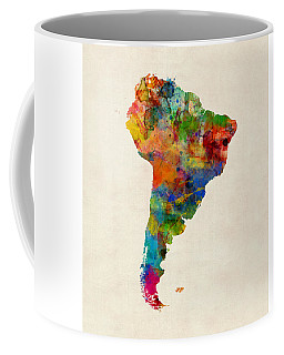 South America Watercolor Map Coffee Mug