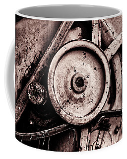 Soviet Ussr Combine Harvester Abstract Cogs In Monochrome Coffee Mug