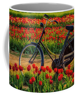 Coffee Mug featuring the photograph Springtime Tulips And Bike by Susan Candelario