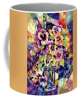 Stained Glass Pansies Coffee Mug