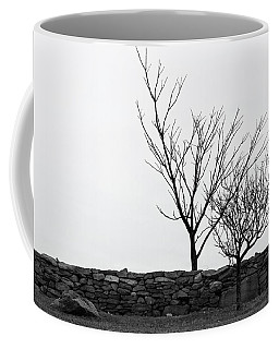 Coffee Mug featuring the photograph Stone Wall With Trees In Winter by Nancy De Flon