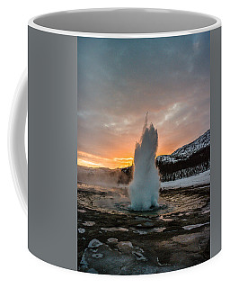 Strokkur Winter Blowup In Front Of Sunset Coffee Mug