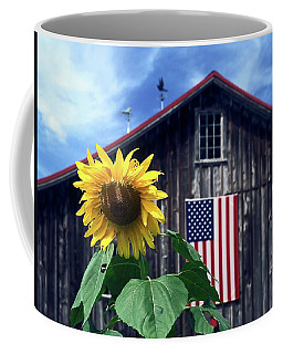 Sunflower By Barn Coffee Mug