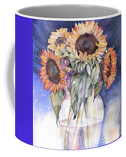Coffee Mug featuring the painting Sunflowers by Nadine Dennis