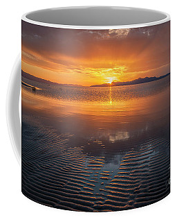 Coffee Mug featuring the photograph Sunset And Sand Ripples by Spencer Baugh