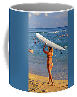 Surfer Girl Coffee Mug by James Kirkikis