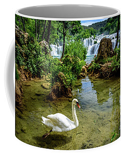 Swan In The Waterfalls Of Skradinski Buk At Krka National Park In Croatia Coffee Mug