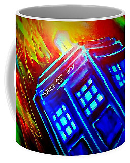 Coffee Mug featuring the painting Tardis Watercolor Edition by Justin Moore