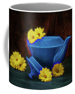 Tea Kettle With Daisies Still Life Coffee Mug by Tom Mc Nemar