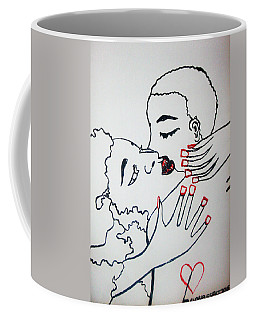 Coffee Mug featuring the painting Tender Love by Gloria Ssali