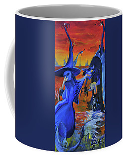 Coffee Mug featuring the painting The Cat And The Witch by Christophe Ennis