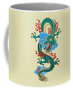 The Great Dragon Spirits - Turquoise Dragon On Rice Paper Coffee Mug by Serge Averbukh
