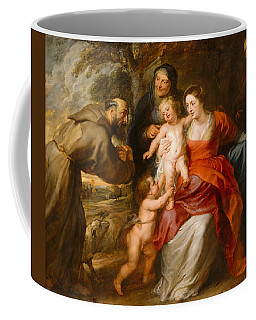 Coffee Mug featuring the painting The Holy Family With Saints Francis And Anne And The Infant Saint John The Baptist by Peter Paul Rubens