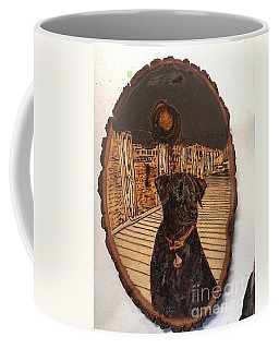 Coffee Mug featuring the pyrography Timber by Denise Tomasura
