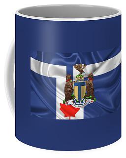 Toronto - Coat Of Arms Over City Of Toronto Flag  Coffee Mug