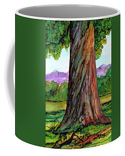 Coffee Mug featuring the painting Tree In The Meadow by Val Stokes