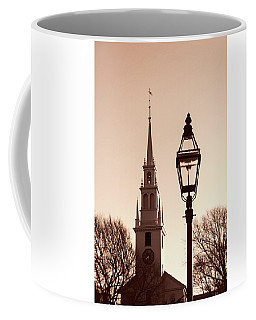 Coffee Mug featuring the photograph Trinity Church Newport With Lamp by Nancy De Flon
