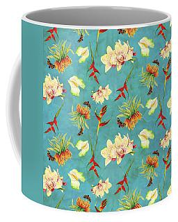 Tropical Island Floral Half Drop Pattern Coffee Mug by Audrey Jeanne Roberts