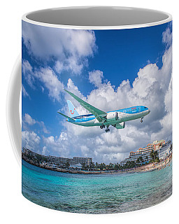 Tui Airlines Netherlands Landing At St. Maarten Airport. Coffee Mug by David Gleeson