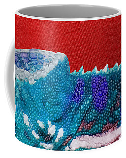 Turquoise Chameleon On Red Coffee Mug
