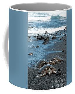Turtles On Black Sand Beach Coffee Mug