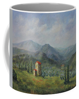 Coffee Mug featuring the painting Tuscany Italy Olive Groves by Katalin Luczay