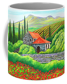 Coffee Mug featuring the painting Tuscany Poppies by Val Stokes