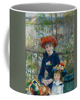 Coffee Mug featuring the painting Two Sisters On The Terrace by Auguste Renoir