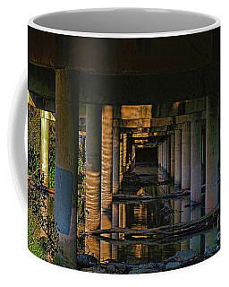Coffee Mug featuring the photograph Under The Bridge by Diana Mary Sharpton