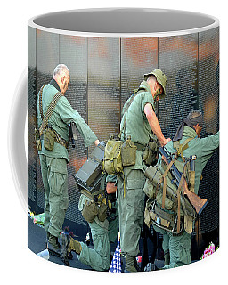 Veterans At Vietnam Wall Coffee Mug