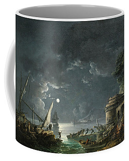 Coffee Mug featuring the painting View Of A Moonlit Mediterranean Harbor by Carlo Bonavia
