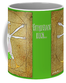 Coffee Mug featuring the painting Vitruvian Duck... by Will Bullas