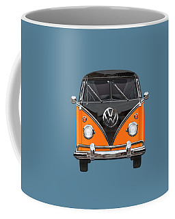 Volkswagen Type 2 - Black And Orange Volkswagen T 1 Samba Bus Over Blue Coffee Mug