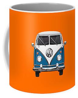 Volkswagen Type 2 - Blue And White Volkswagen T 1 Samba Bus Over Orange Canvas  Coffee Mug