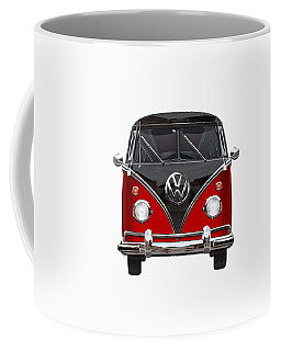 Volkswagen Type 2 - Red And Black Volkswagen T 1 Samba Bus On White  Coffee Mug